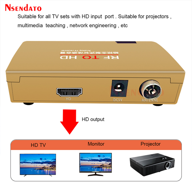 RF To HD All Standard Converter HD To Radio Frequency Signal RF to HD Transmitter Signal Analog TV Receiver Adapter for TV