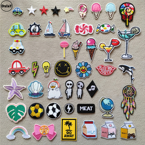 (46 Styles) Ice Cream Iron on Patches for Clothing Cartoon Cars Stickers Stripes Appliques on Clothes Embroidery Sailboat Badges(China)