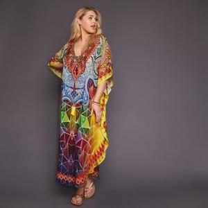 Image 3 - 2020 Quick drying Bohemian Printed Tassel Summer Beach Maxi Dress Cotton Tunic Women Plus Size Beachwear SwimSuit Cover Up Q999