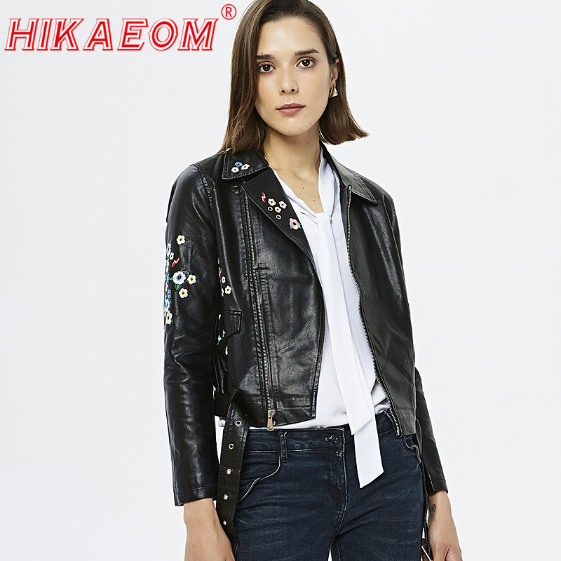 Vintage Women Floral Print Embroidery Faux Soft   Leather   Jacket Coat Turn-down Collar Casual Pu Motorcycle Black Punk Outerwears