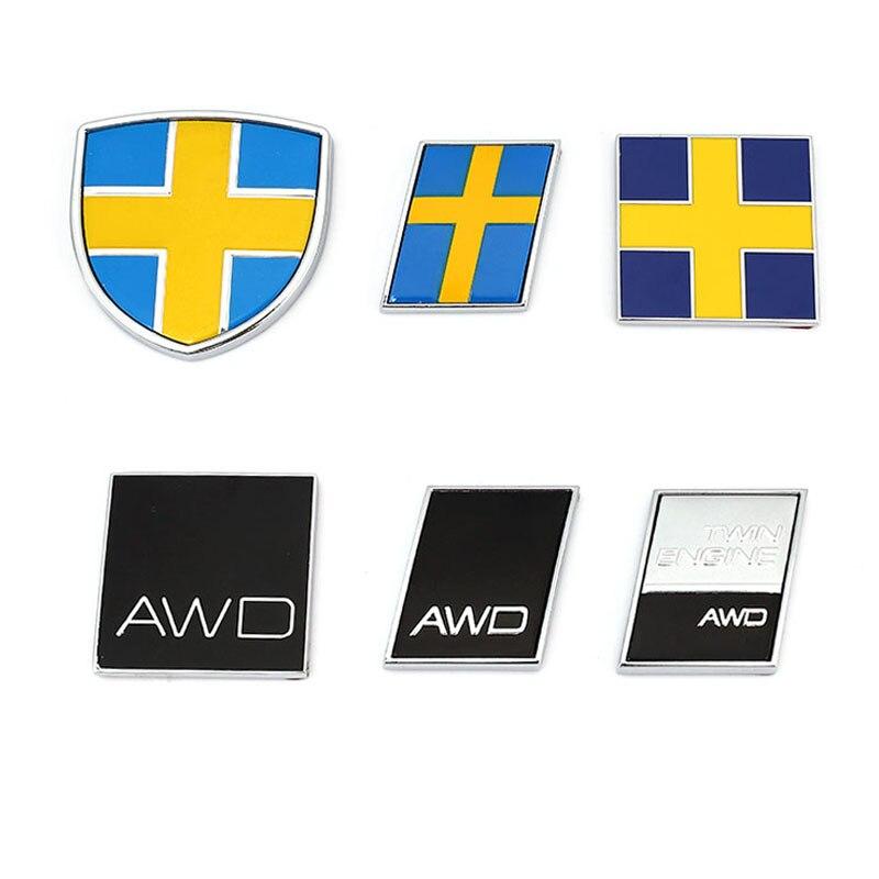 3D métal suède double moteur AWD Logo emblème Badge décalcomanies voiture autocollant pour Volvo Ocean V40 V60 V90 XC60 XC90 XC40 S60 S90 S80 C30