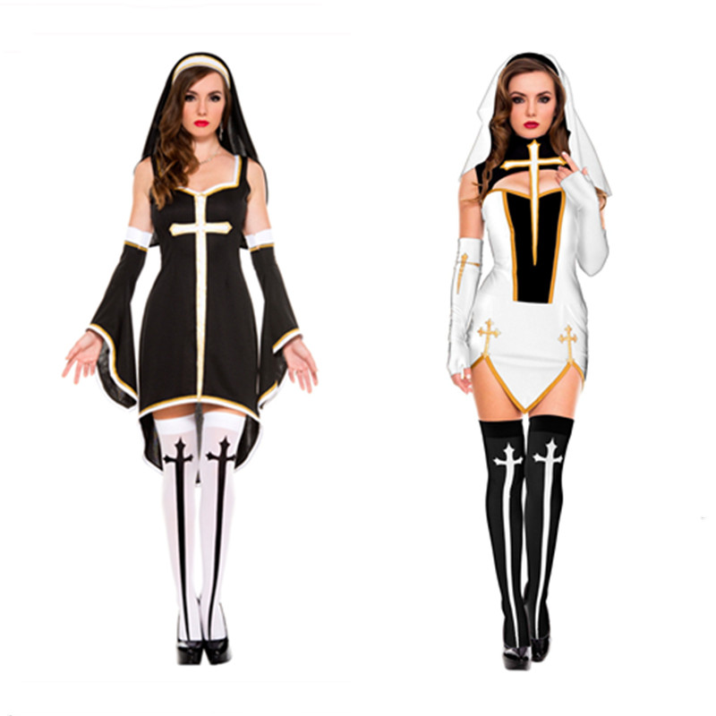 Sexy Bad Habit Nun Costume Christian Missionary Fancy Dress Women Black White Halloween Costumes