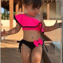Ship in 24 Hours Summer Baby Kids Girl Two Piece Swimsuit Child Swimwear Ruffles Bow Water Sports Bikini Shoulder Beach Bathing