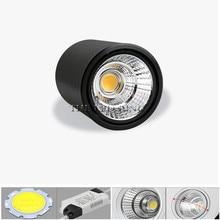 Yüksek parlak COB LED sıva üstü Downlight kısılabilir 5W 7W 10W 12W 15W 18W ayarlanabilir tavan Spot lambası beyaz/siyah konut