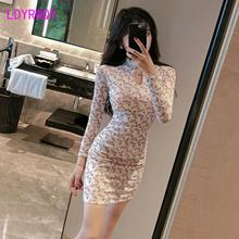 2019 spring and autumn new lace stitching color improvement cheongsam bag hip dress female Knee-Length
