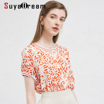 SuyaDream Elegant Women Blouse 100% REAL SILK Crepe Red Print Shirt O neck 2020 Summer Shirts