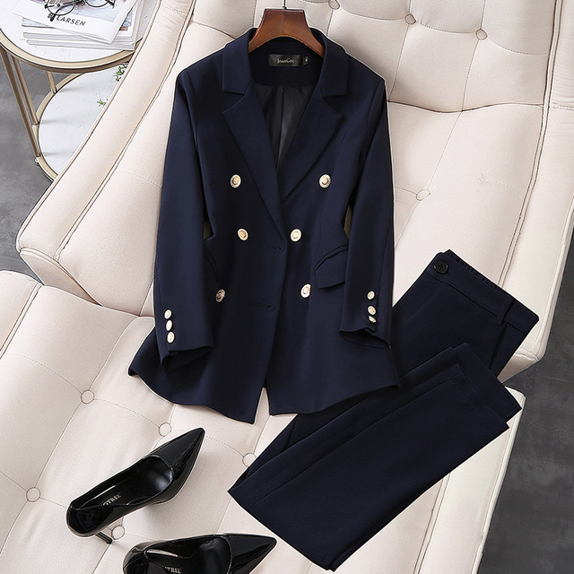 2020 New Elegant Office Work Wear Pant Suits OL 2 Piece Sets Double Breasted Blazer Jacket & Trousers Suit For Women Set S-5XL