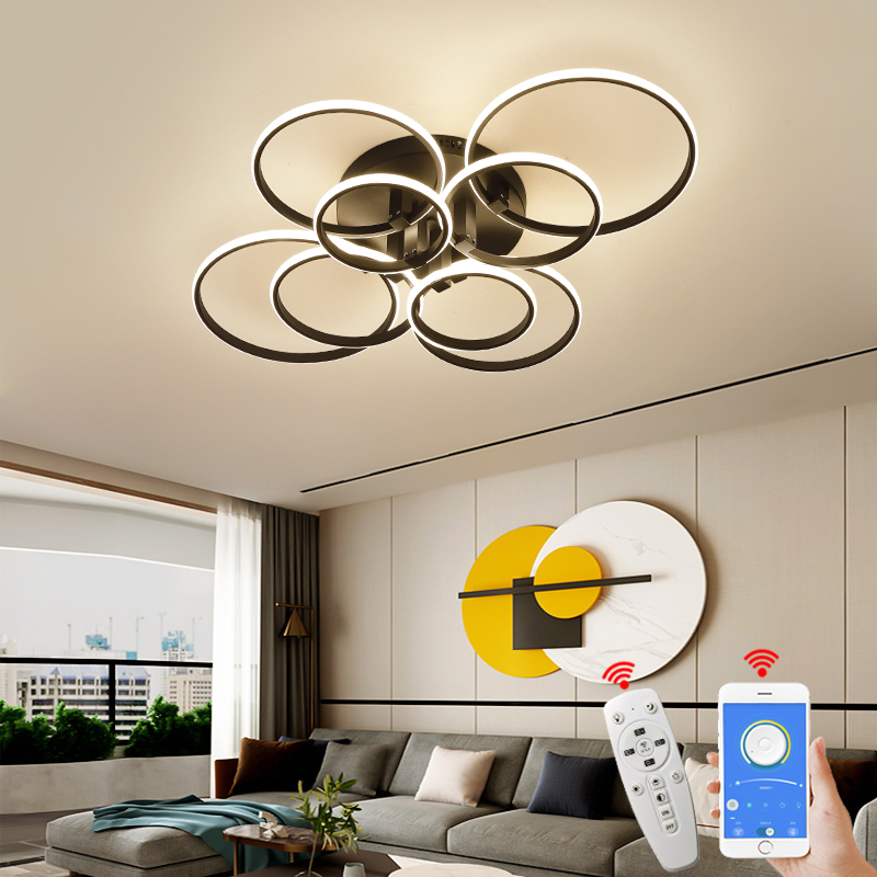 8 6 4 Circle Rings Modern Ceiling Lights led for living Room bedroom study room matte black white Color Ceiling Lamp Fixture
