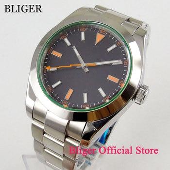 цена 40mm Sterile Time Watch Black Dial Luminous Saphire Glass Orange Hand Polished Bezel MIYOTA 8215 Automatic Movement Men's Watch онлайн в 2017 году