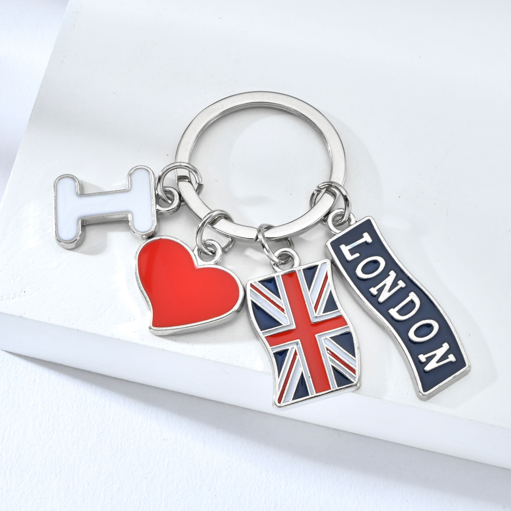 I Love London Silver Keychains British Flag English Style Red Heart Keyrings Four Accessories Key Pendant Souvenir Key Ring Gift