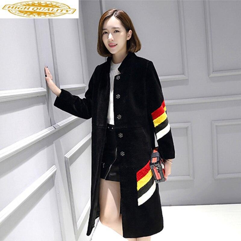 Winter 2019 Real Fur Coat Women Tops Plus Size 5xl Sheep Shearing 100% Wool Coat Long Jacket Overcoat Abrigo Mujer KJ542