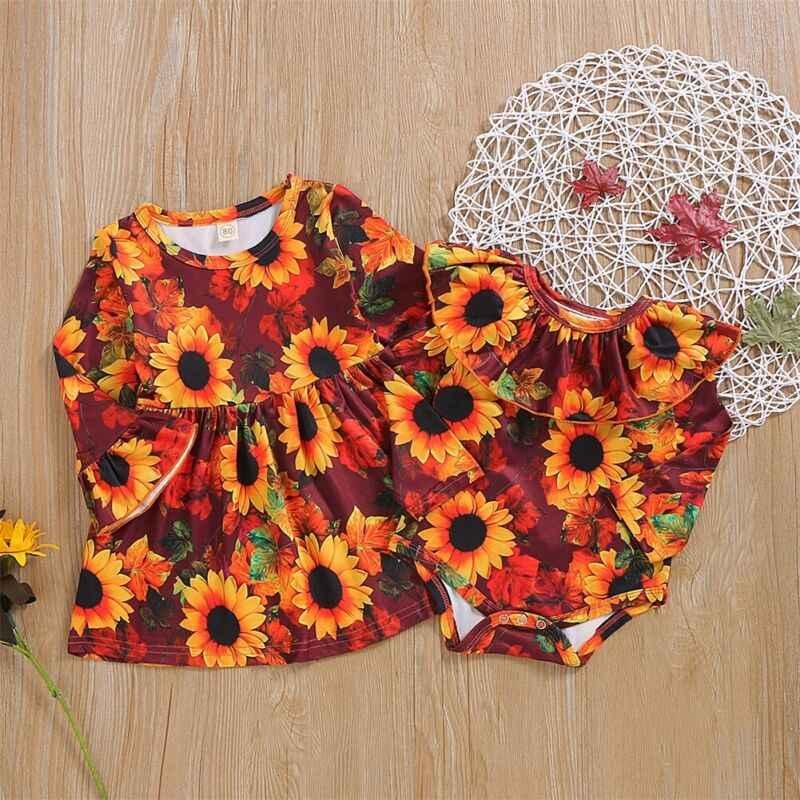 CANIS otoño niño niños bebé niña ropa hermana a juego volantes florales encantadora moda Romper conjunto de vestido