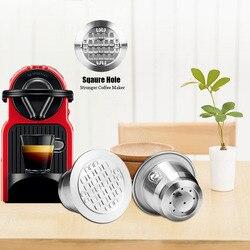 Wielokrotnego napełniania 4 sztuk czworokątny otwór do Nespresso ze stali nierdzewnej pusta kapsuła metalowy filtr do kawy wielokrotnego użytku kubek wielokrotnego użytku kroplownik w Filtry do kawy od Dom i ogród na