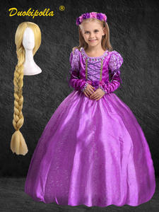 Rapunzel Dress Halloween-Costume Kids Girls Outfits Puff-Sleeve Tangled Holiday Fancy
