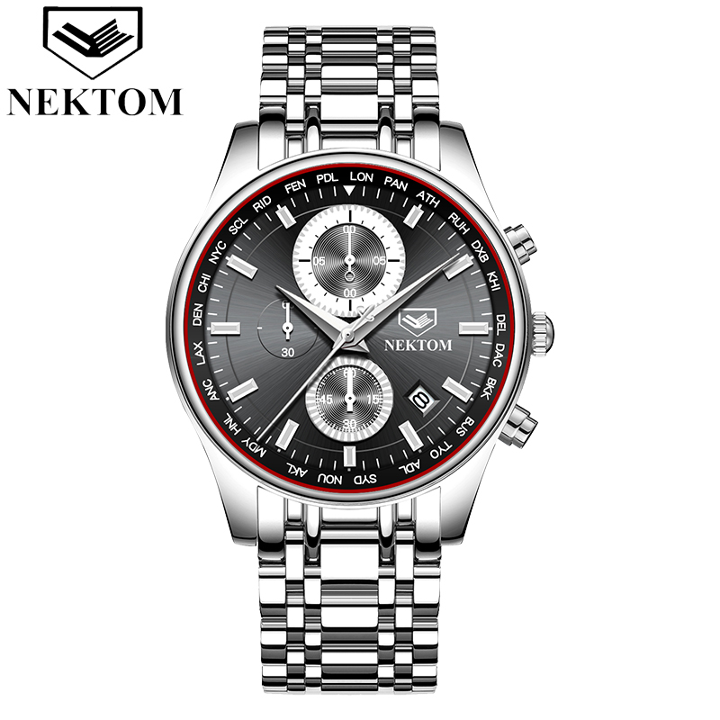 NEKTOM Men Watch Chronograph Sport Watches Top Brand Luxury Waterproof Full Steel Quartz Gold Clock Relogio Masculino Naviforce