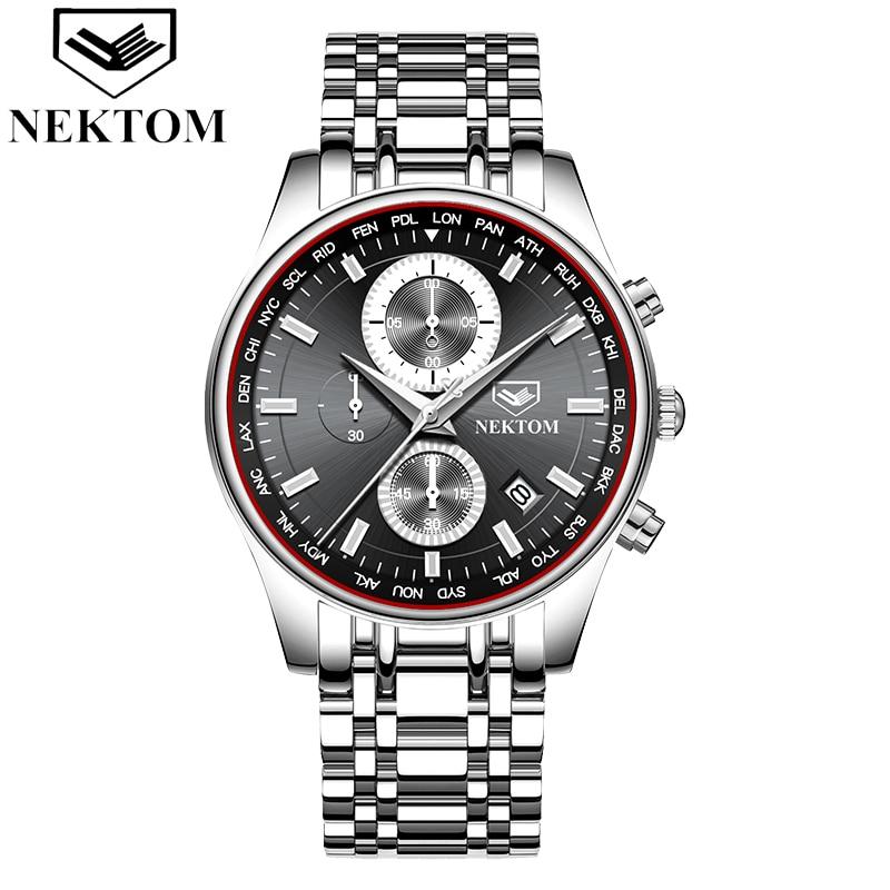 NEKTOM Men Watch Chronograph Sport Watches Top Brand Luxury Waterproof Full Steel Quartz Gold Clock Relogio Masculino Naviforce