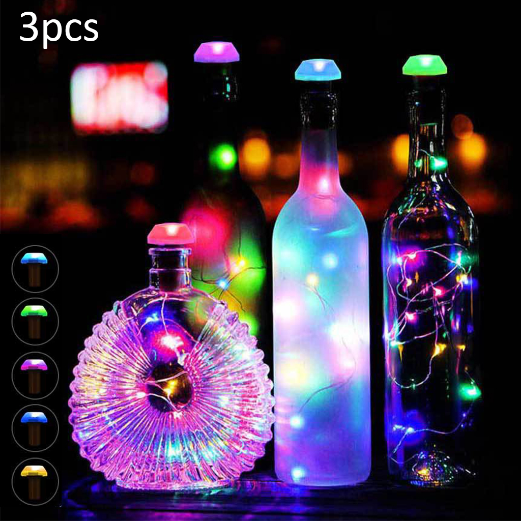 3PCS Solar Power Bottle Lights LED Cork Shape Copper Wire Colorful Fairy Mini String Lights For DIY Party Decor Christmas