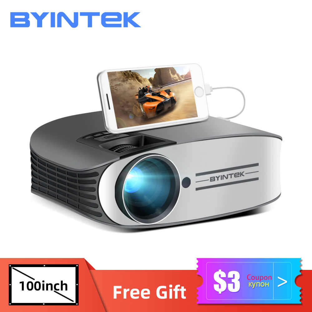 BYINTEK LED Proyektor M7 ,200Inch Home Theater Beamer,LED Projector untuk Iphone SmartPhone Full HD 1080P 3D 4K