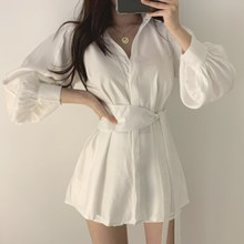 2019 Fall Women Korea With Belt Long Blouses Shirt Casual Sleeve Top Elegant Lantern Loose