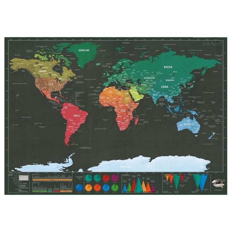Small Mini Version Black Scratch Map Creative Luxury World Version Black Gold Travel Map