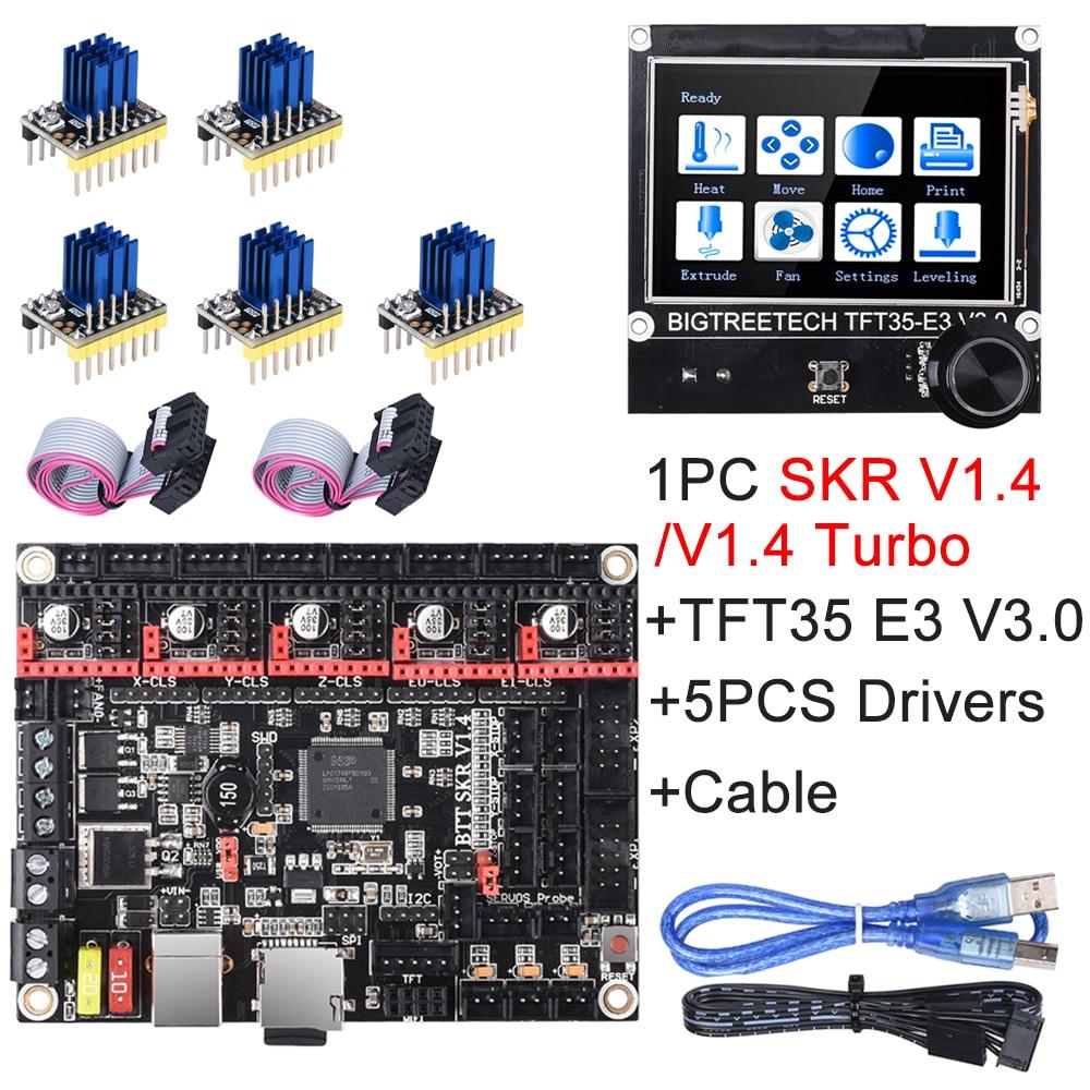 Bigtreetech skr v1.4 turbo skr v1.4 peças de impressora 3d vs skr v1.3 tft35 e3 v3.0 + tmc2209 tmc2208 tmc2130 para ender 3
