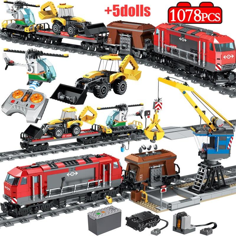 1078PCS City Track Train Station Building Blocks Legoingly Technic RC Train Figures Helicopter Car Bricks Education Toys For Boy