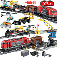 1078PCS City Track Train Station Building Blocks Legoingly Technic RC Train Figures Helicopter Car Bricks Education Toys for Boy