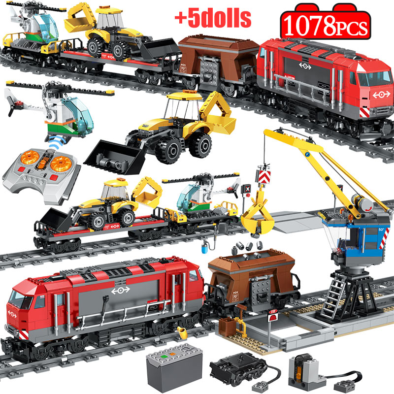 1078PCS City Track Train Station Building Blocks Technic RC Train Figures Helicopter Car Bricks Education Toys for Boy