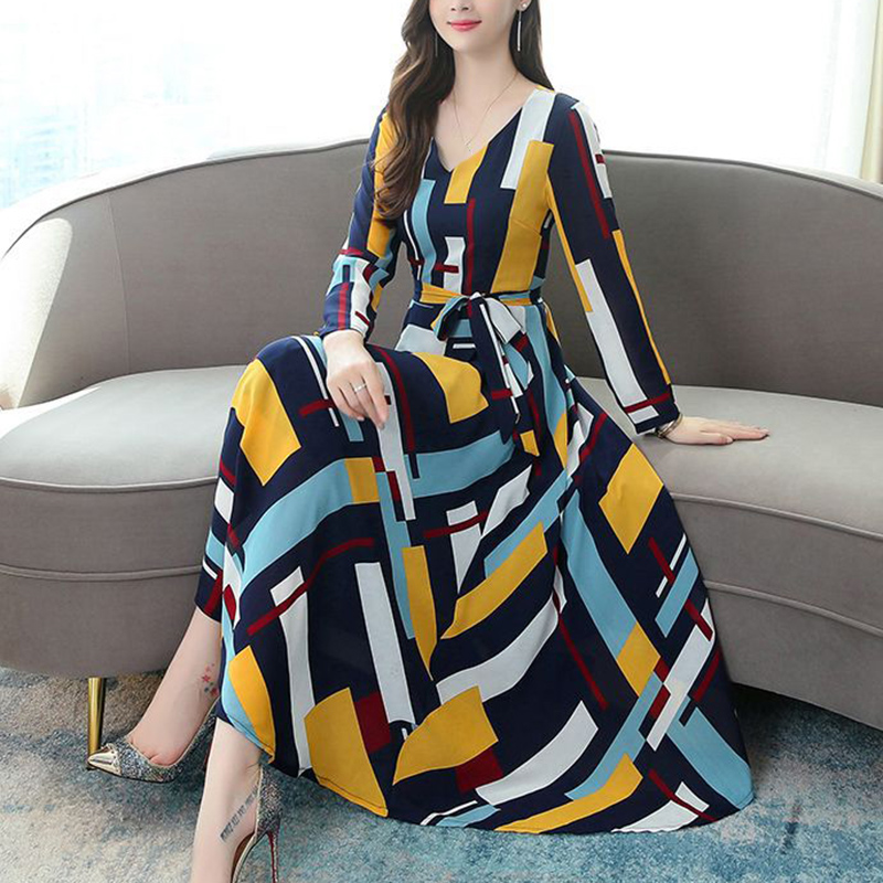 Women Casual Slim V-Neck Print Long Sleeve Party Lace Up Long Maxi A-Line Striped Summer Dress