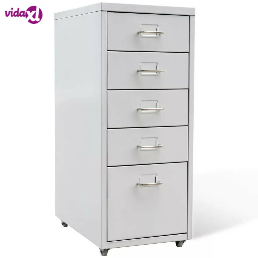VidaXL Bedroom Living Room Drawer Filing Cabinet Detachable Mobile Steel File Cabinets 5 Drawers 4 Casters Office Cabinet SV3