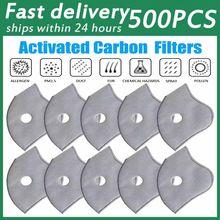 Masques faciaux de cyclisme 5 couches, 500 pièces, filtres de remplacement au charbon actif, Anti-poussière PM2.5, équipement de cyclisme sur route et vtt