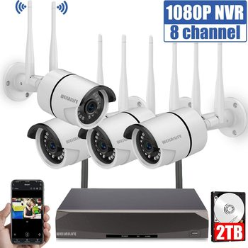 8CH Wireless 1080P HD Outdoor Home Security Camera System CCTV Video Surveillance NVR Kit 1080P Wifi Camera Kit 2T HD WEILAILIFE anran 4ch hd 720p hd wifi nvr 7 lcd monitor 1 0 megapixel outdoor security wireless ip camera video surveillance system for home