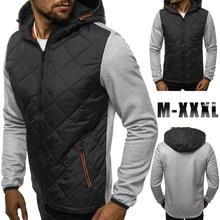 Mens Autumn Winter Zipper Jackets and Coats Casual Long Sleeve Patchwork Hooded Streetwear Jacket Men Slim Hoodies Outerwear Men
