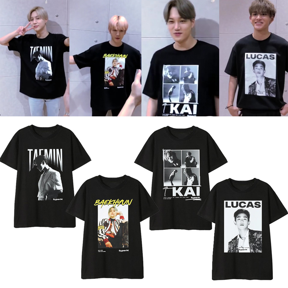 K-pop SuperM Official Same Style Supporting T-shirt Kpop SuperM TAEYONG KAI BAEKHYUN TAEMIN Short Sleeve Tshirts Summer Tops