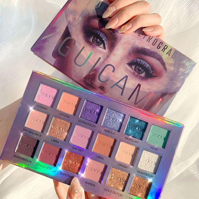 GUICAMI Mercury Retrograde Eyeshadow Palette 18 Colors Shimmer Matte Metallic Eye Shadow Powder Makeup Galaxy Eyes Cosmetic Kit