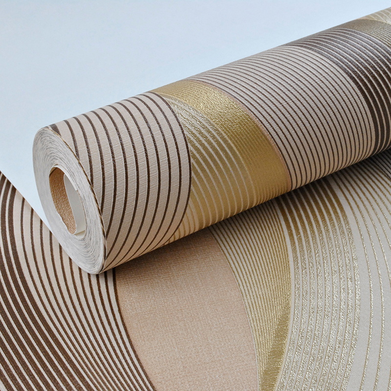 Metallic Gold Texture Wallpaper Roll Geometric Stripes Pattern Modern Fashion Vinyl Wall Paper Living Room