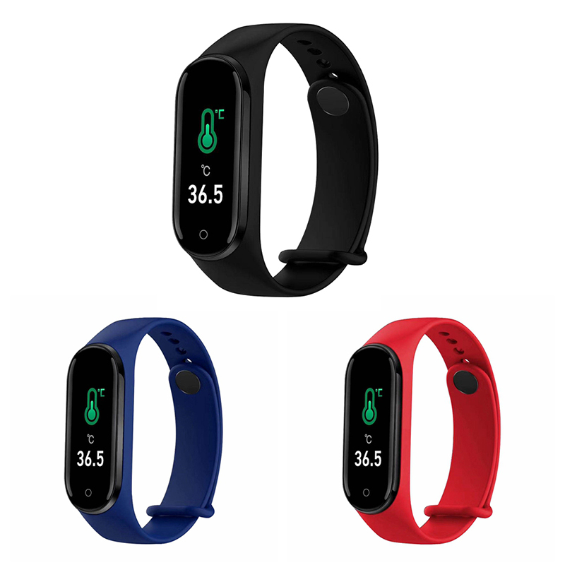M4pro Color Screen Smart Bracelet Temperature Measurement Blood Pressure Heart Rate Health Monitoring Sports Waterproof  Band