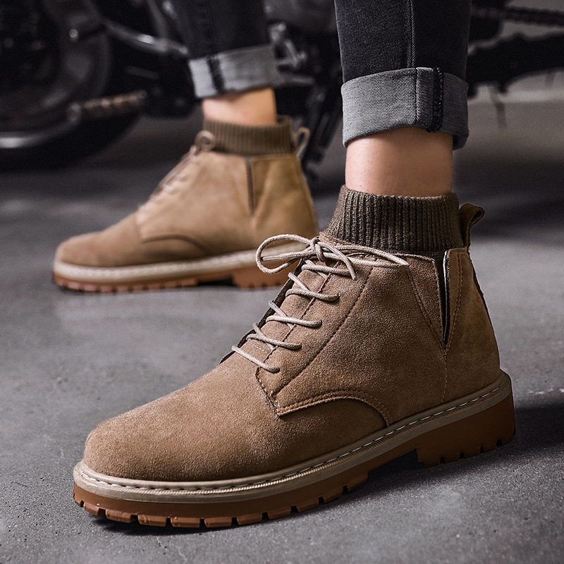 2020 Warm Men Winter Leather Boots Cow Suede Socks Mouth Men's Fur Boots Warm Snow Shoes Men's Ankle Snow Boot