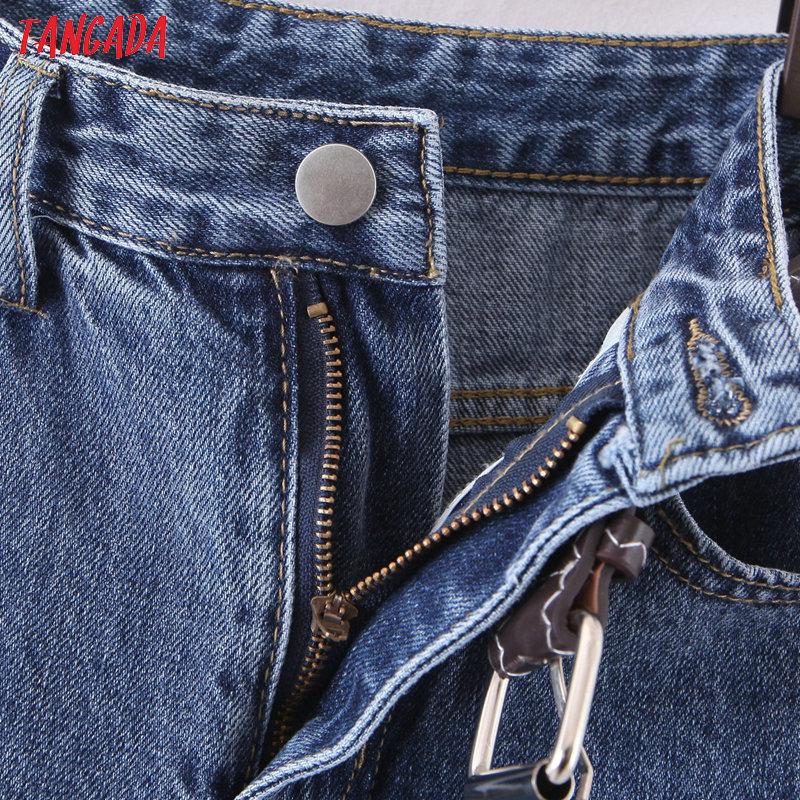 Tangada 2020 fashion women mom jeans pants with belt long trousers strethy waist pockets zipper female pants HY41