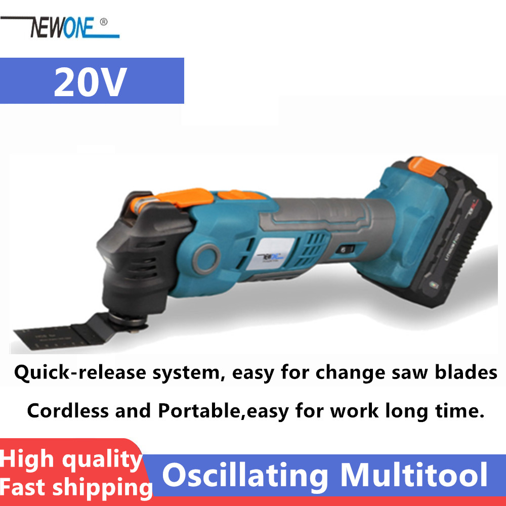 NEWONE 20V Anti-Vibration Oscillating Multitool Quick-Release Trimmer Renovator  Cordless Electric Saw With Saw Blades