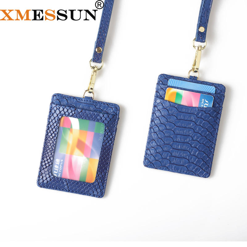 XMESSUN 2020 Python Leather Business Name Tag ID Badge Card Holder with Lanyard