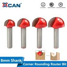 Xcan 1pc 8mm haste canto rouding roteador bit 16/19/22/25mm roteador redondo cortador de corte madeira raio fresa