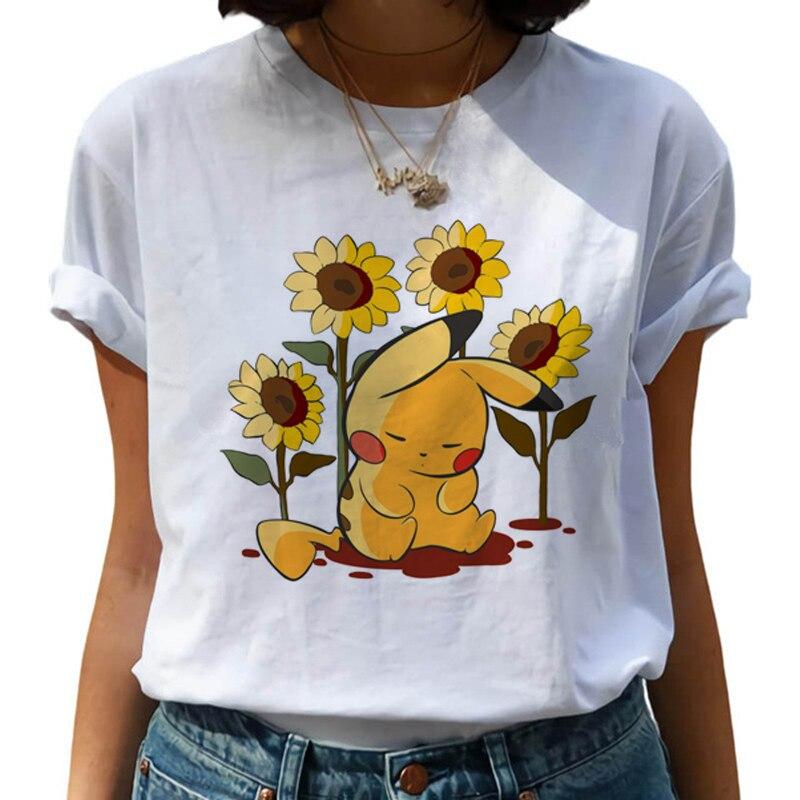 2020New Pokemon Go Harajuku Kawaii T Shirt Women Ullzang Pikachu Funny Cartoon T-shirt 90s Cute Korean Style Top Tees Female