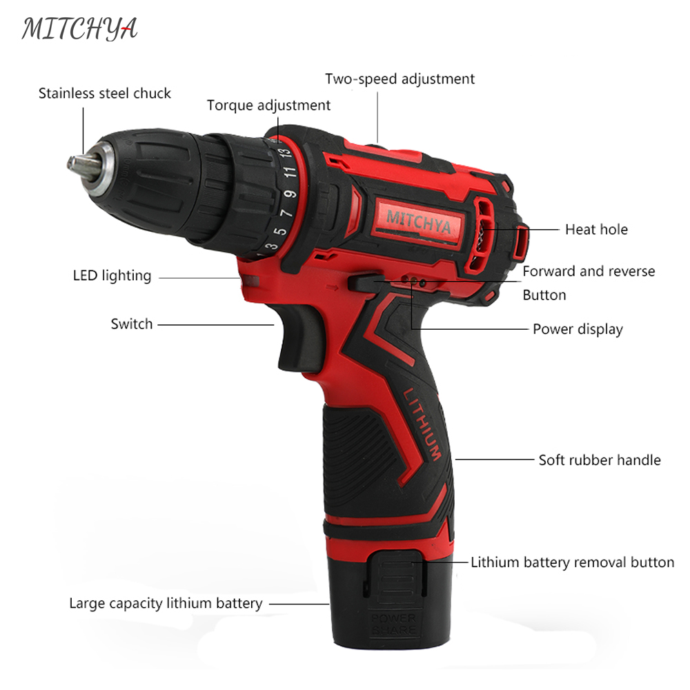 Electric Drill 12V Large Screwdriver Tools Power Capacity Family Repair Lithium Cordless Battery