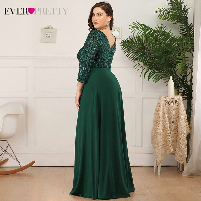 Plus Size Sequined Evening Dresses Ever Pretty 3/4 Sleeve A-Line Double V-Neck Elegant Sparkle Party Gowns Abiye Gece Elbisesi 4