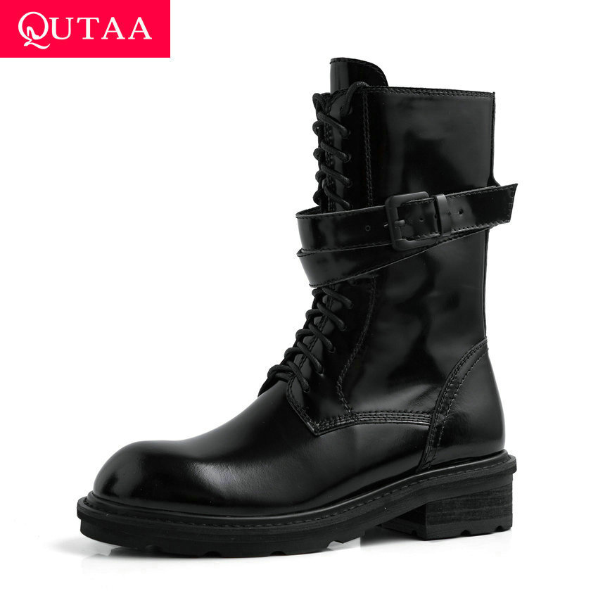 QUTAA 2020 Cow Leather Patent Leather Buckle Antiskid Mid Calf Boots Square Heel Round Toe Lace Up Zipper Women Shoes Size 34-39 leather
