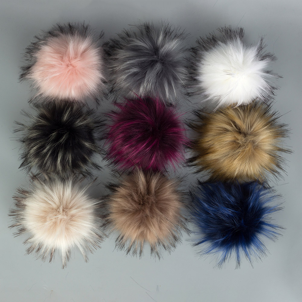 DIY Artificial Wool Hairball Faux Fur Pom Pom Ball With Buckle Hats Beanies Caps Shoes Bags