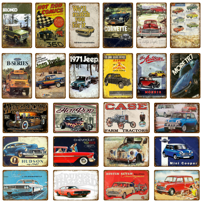 American Truck Bus Car Metal Plaque Vintage Tin Signs Pub Bar Garage Decoration Hot Rod Poster Home Wall Decor(China)