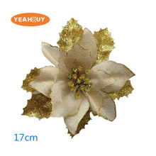 30pcs Christmas flower high quality Xmas flowers decorative artificial poinsettia  gold silver tree decorations