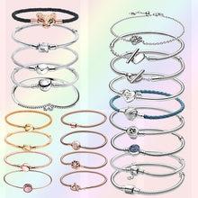 Best selling 925 Sterling Silver Bracelet Rose Golden Color Daisy Charms Flower Barrel Clasp Snake Chain Bracelet Women Jewelry